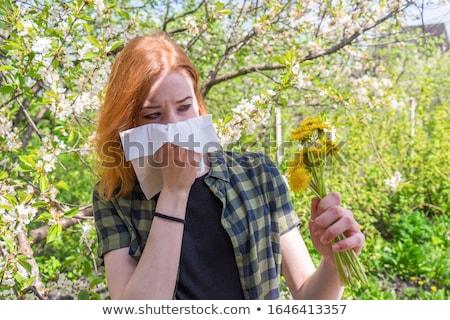 hideg · lány · portré · zsebkendő · hőmérő · citromsárga - stock fotó © galitskaya