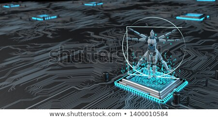 Vitruvian Robot Microchip Stock photo © limbi007