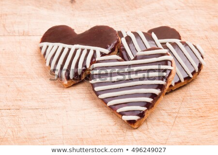 Homemade shortbread cookies with chocolate and hearts Stock photo © Melnyk