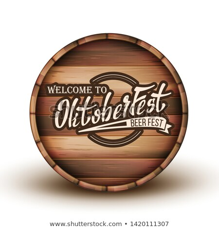 Greeting Text Invitation On Wooden Barrel Vector Stock photo © pikepicture