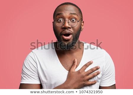 Portret zdziwiony człowiek biały twarz biznesmen Zdjęcia stock © vladacanon