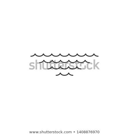 Sea or Ocean Waves in four rows. Editable stroke. Vector illustration isolated on white background Stock photo © kyryloff