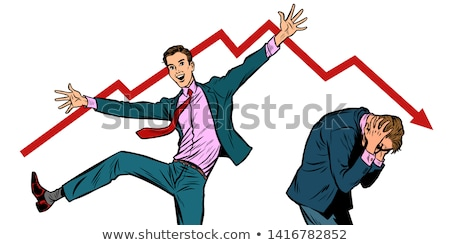 two businessmen. different emotions happiness joy smile and panic sadness fear Stock photo © studiostoks