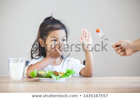 Kid есть завтрак дочь сидят человека Сток-фото © pressmaster