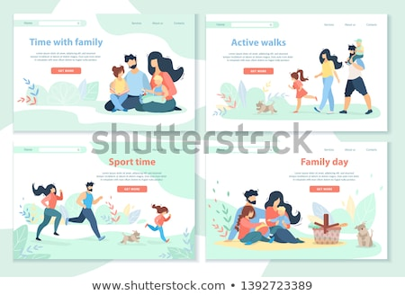 mother father son and daughter walking together stock photo © robuart
