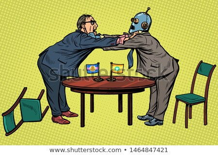 policy diplomacy and negotiations. man versus robot. new technologies and progress concept Stock photo © studiostoks