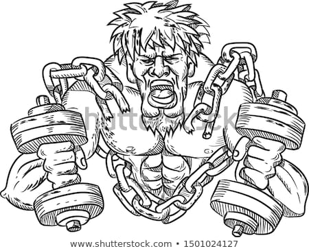Buffed Athlete Dumbbells Breaking Free From Chains Drawing Stock photo © patrimonio