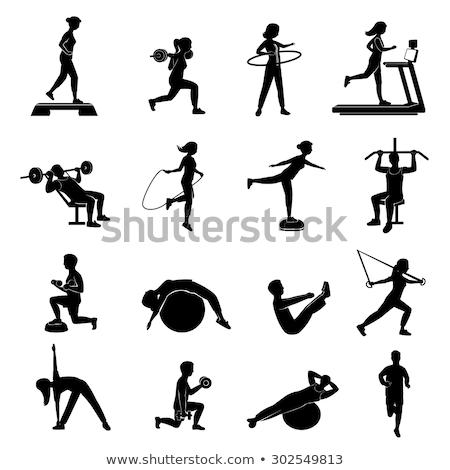 Fitnessz nő képzés labda weboldal fitnessz emberek Stock fotó © robuart