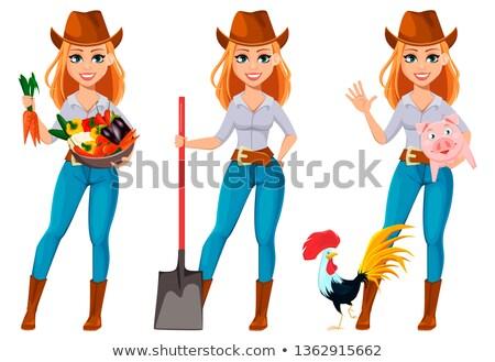 漫画 女性 農家 幸せ 納屋 ストックフォト © Voysla