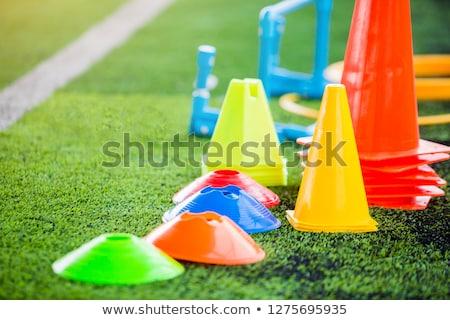 Futball képzés felszerlés zöld mesterséges tőzeg Stock fotó © matimix