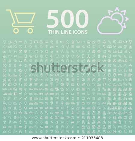 ecology and communication color line icons set stock photo © decorwithme