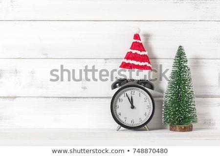 karácsony · ébresztőóra · fenyőfa · ág · pezsgő · szemüveg - stock fotó © karandaev