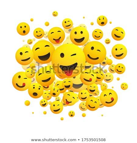 Kacsintás nyelv kidugva citromsárga emotikon arc 3D Stock fotó © cienpies