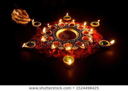 happy diwali diya and flower decoration background Stock photo © SArts