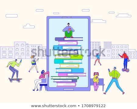 Elektronikus könyvtár diák hozzáférés könyvek vektor Stock fotó © robuart