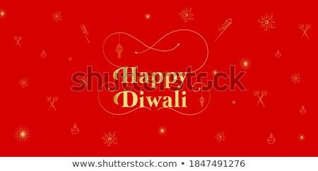 decorative happy diwali crackers red banner design stock photo © sarts