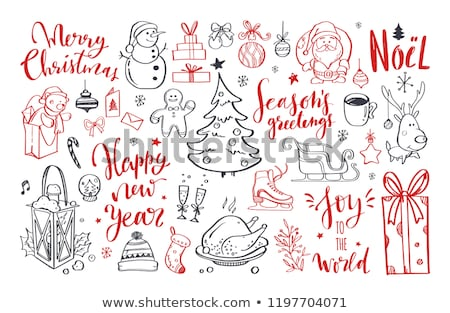Cartoon cute doodles hand drawn Winter frame design. Stock photo © balabolka