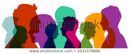 Stock photo: Woman and different color silhouette