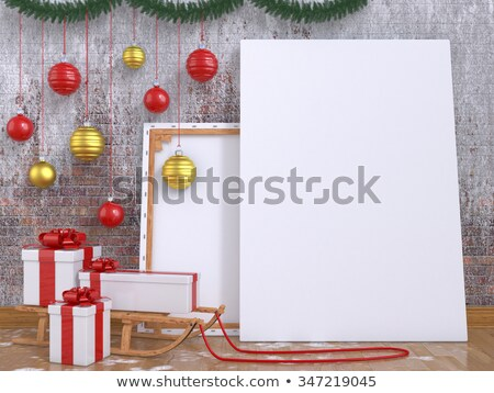 snow ball with gifts and wooden sledge 3d stock photo © djmilic