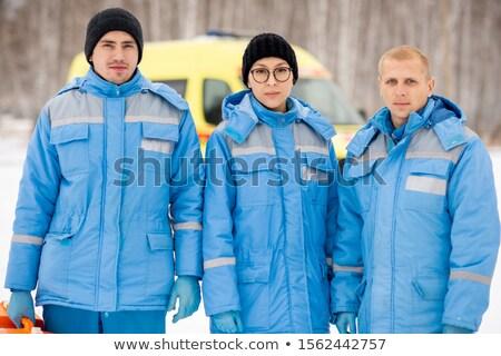 Drie jonge Blauw winter werkkleding Stockfoto © pressmaster