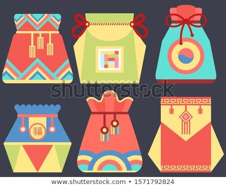 Szerencsés zsák kínai szimbólum táska vektor Stock fotó © robuart