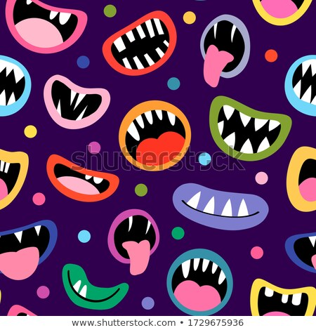 Cute And Funny Seamless Vector Pattern With Silly Halloween Monsters Stockfoto © Pravokrugulnik