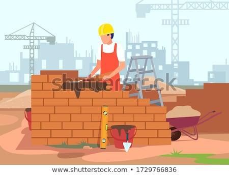 Rajz kőműves építkezés építész téglafal profi Stock fotó © Voysla