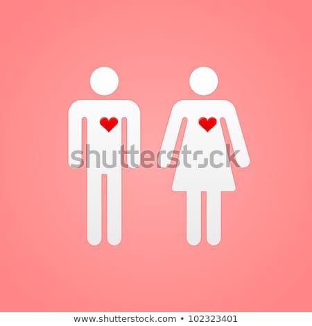Vrouwelijke mannelijke symbolen roze metalen symbool Stockfoto © albund