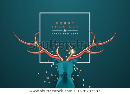 Christmas new year 3d low poly copper deer head Stock photo © cienpies