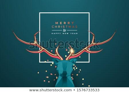 Karácsony új év 3D alacsony réz szarvas Stock fotó © cienpies