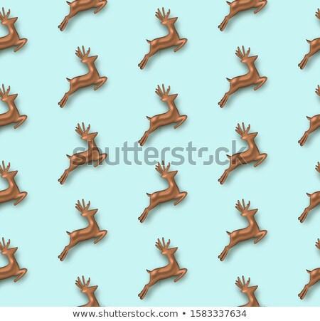 Réz 3D szarvas végtelen minta vidám karácsony Stock fotó © cienpies