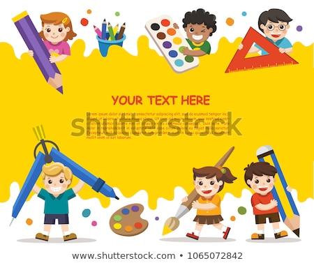 Dzieci szkoły kolorowy wektora broszura szablon Zdjęcia stock © Decorwithme