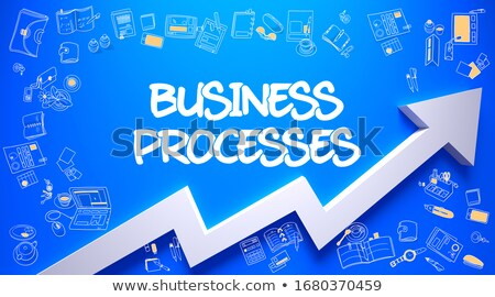 Business Processes Drawn On Azure Wall Foto stock © Tashatuvango