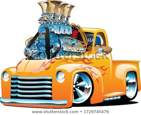Amerykański klasyczny hot rod ciężarówka cartoon odizolowany Zdjęcia stock © jeff_hobrath