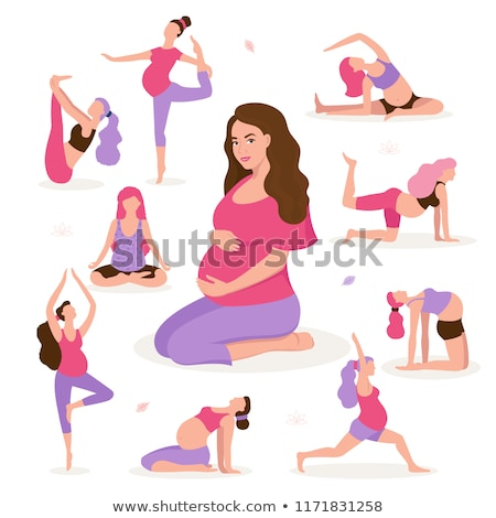 Young beautiful pregnancy woman. Fitness healthy lifestyle. Prenatal exercise. Vector illustration Stock photo © Imaagio