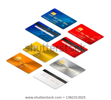 Rood realistisch creditcards chip beide isometrische Stockfoto © evgeny89