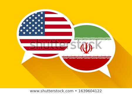 Two speech bubbles with USA and IRAN flags Stock photo © evgeny89