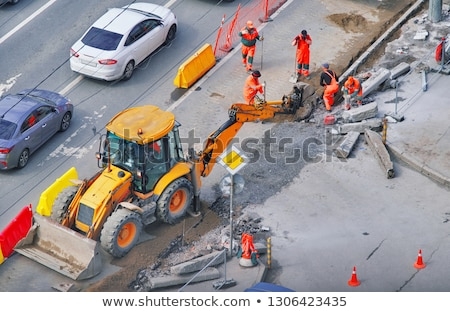Curb and gravel on the road in repair. Placed  Stock photo © deyangeorgiev