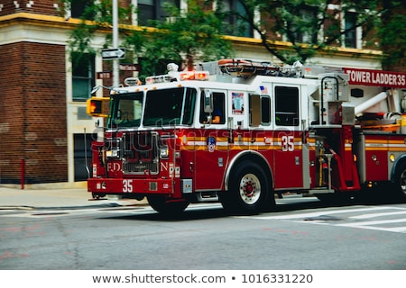 fire truck and flames stock photo © deyangeorgiev