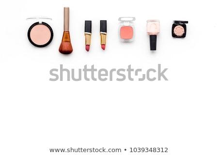 cosmetics rouge and brush on the white background Stock photo © tetkoren