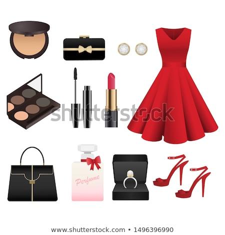 Cipő rúzs vektor magas sarok nő fekete Stock fotó © Dahlia