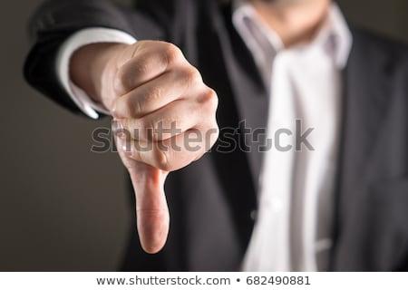 üzletember · hüvelykujjak · lefelé · felirat · kéz · férfiak - stock fotó © kokimk
