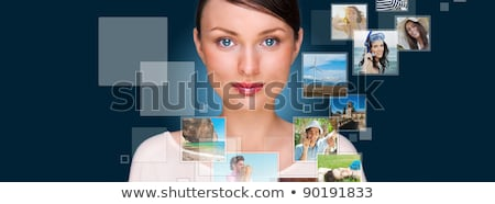 portrait of young happy woman sharing his photo and video files stock photo © hasloo