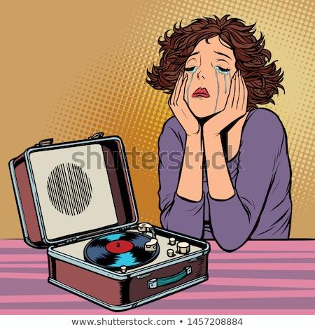 Sad Woman Listening To Music Stok fotoğraf © rogistok
