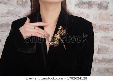 portré · szépség · barna · hajú · pillangó · víz · kezek - stock fotó © marylooo
