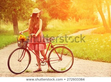 Beautiful girl parque belo triste loiro menina Foto stock © PetrMalyshev