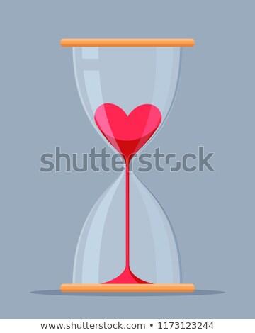 harten · zand · klok · Rood · liefde · hart - stockfoto © antkevyv