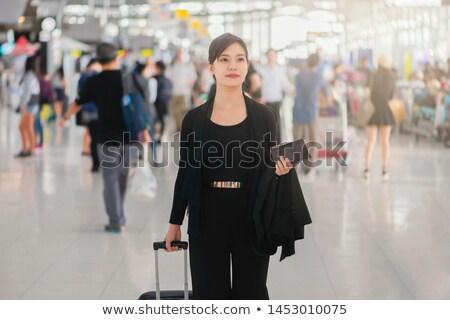 Nő érkezik repülőtér égbolt utazás repülőgép Stock fotó © photography33