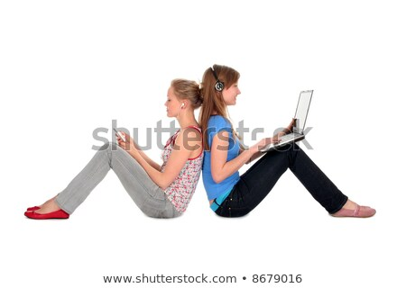 Stock photo: Student - Two teenager with laptop and headphones