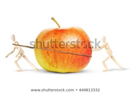 Bois marionnette poussant pomme Homme bois Photo stock © compuinfoto